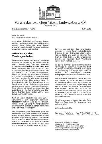 Aktuelles aus dem Vereinsgeschehen - Oststadtverein Ludwigsburg