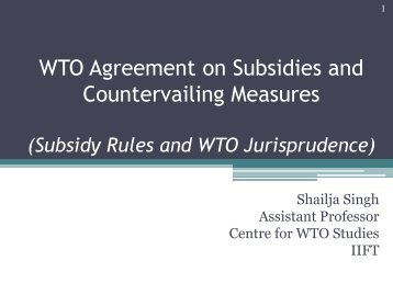 a subsidy - Centre for WTO Studies