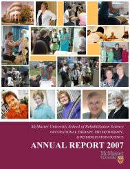 annual report 2007 - School of Rehabilitation Science - McMaster ...