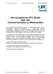 Pan-europäische UPC Studie über das Fernseh-Verhalten zu ...