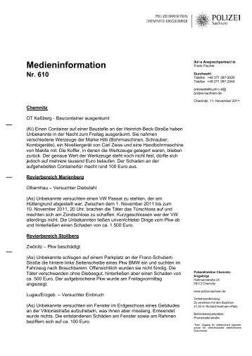 Medieninformation Nr. 610 - Polizei Sachsen