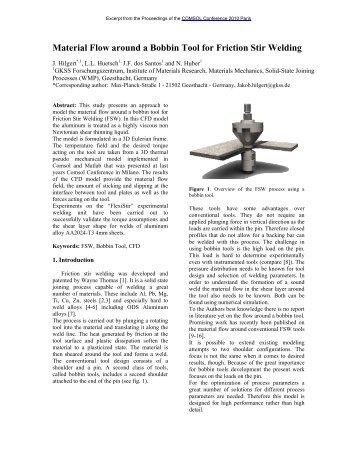 Material Flow around a Bobbin Tool for Friction Stir ... - COMSOL.com