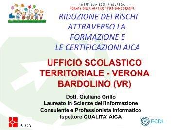 RIDUZIONE DEI RISCHI ATTRAVERSO LA FORMAZIONE E ... - Aica
