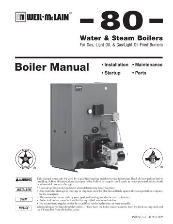 Manufacturing Dates by Series GAS BOILERS - Weil-McLain