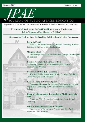 JOURNAL OF PUBLIC AFFAIRS EDUCATION - naspaa