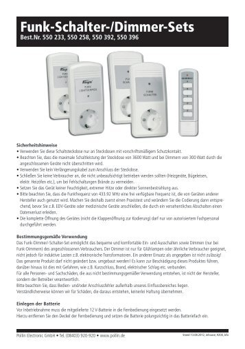 Funk-Schalter-/Dimmer-Sets - Pollin Electronic GmbH
