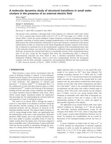 A molecular dynamics study of structural transitions in small water ...