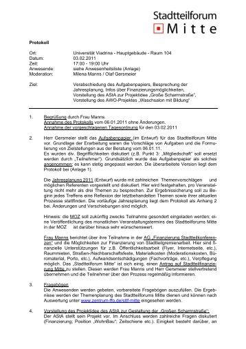 Protokoll der Sitzung am 3. Februar 2011