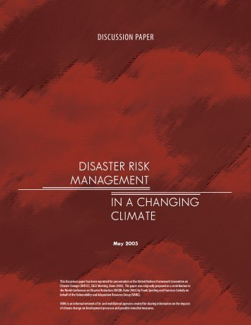disaster risk management in a changing climate - PreventionWeb