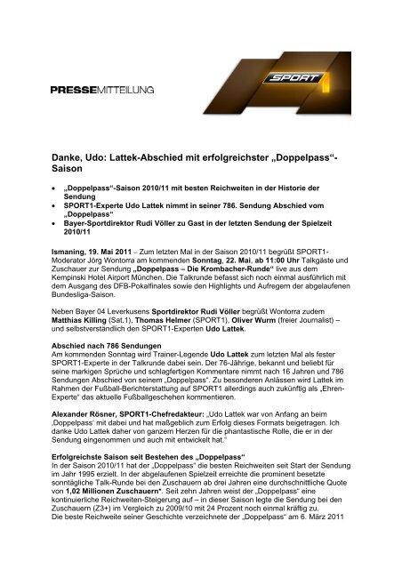 Danke Udo Lattek Abschied Mit Erfolgreichster Doppelpass