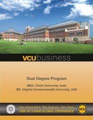 Christ University VCU MBA/MS Dual Degree Program Brochure 2012