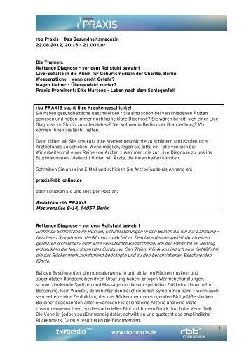 1 Redaktion rbb PRAXIS Masurenallee 8-14, 14057 ... - beim rbb