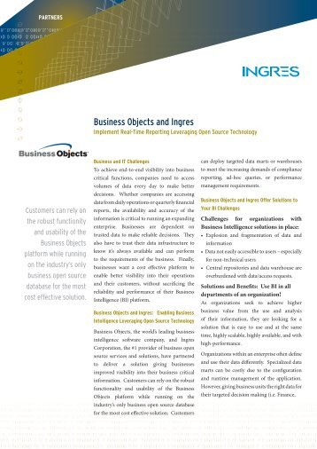 Business Objects and Ingres - Actian