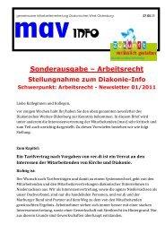 Sonderinfo newsletter - Diakonie im Oldenburger Land