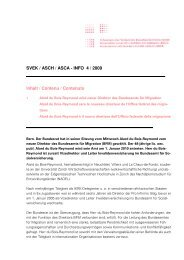 SVEK / ASCH / ASCA - INFO 4 / 2009 Inhalt / Contenu / Contenuto