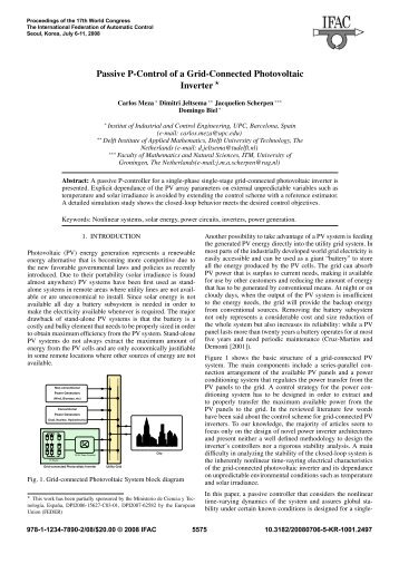 Passive P-Control of a Grid-Connected Photovoltaic Inverter - ITM