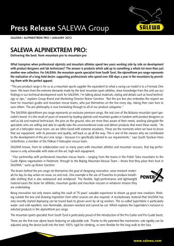 Press Release SALEWA Group