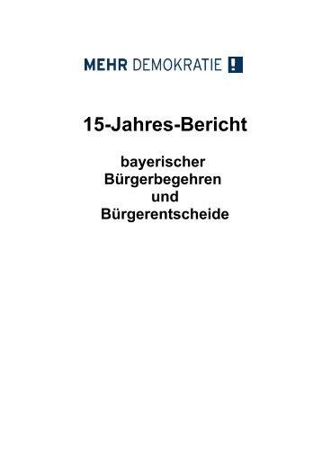 15-Jahres-Bericht bayerischer Bürgerbegehren und Bürgerentscheide