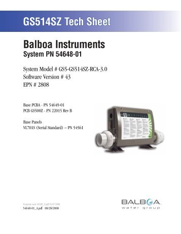 54648-01, GS5-GS514SZ-RCA-3.0 - Balboa Direct