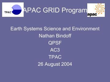 APAC GRID Program - Seegrid.csiro.au