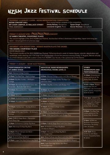 NZSM Jazz Festival Schedule - Chisnallwoodmusic