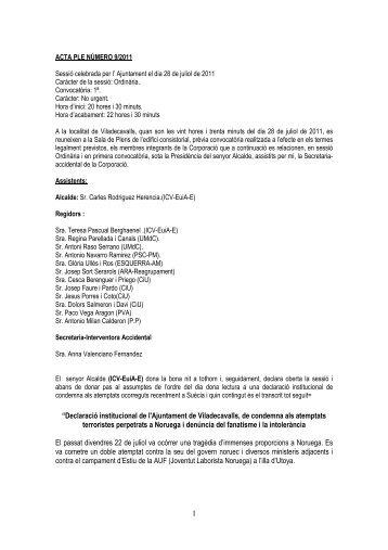 """1 """"Declaració institucional de l'Ajuntament de Viladecavalls, de ..."""