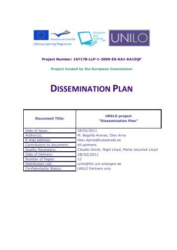 Deliverable d2 1 dissemination plan tuhh for Dissemination plan template
