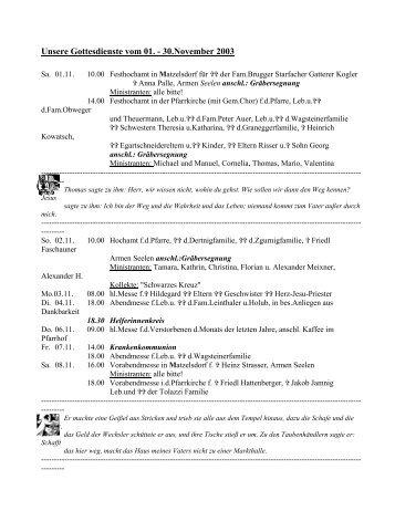 Unsere Gottesdienste vom 01. - 30.November 2003