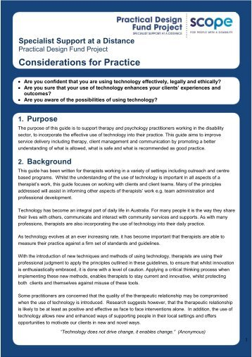 Considerations for Practice - Introduction - Scope