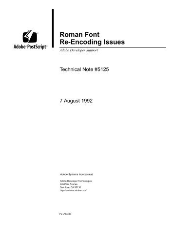 Roman Font Re-Encoding Issues (PDF: 92k) - Adobe Partners
