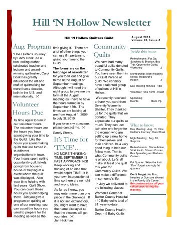 Hill 'N Hollow Newsletter - Hill 'N Hollow Quilters Guild
