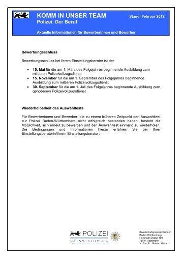 komm in unser team polizei baden wrttemberg - Bewerbung Polizei Baden Wurttemberg