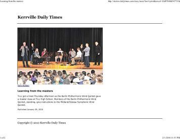 Kerrville Daily Times - Jan 29, 2010 - Learning from the masters