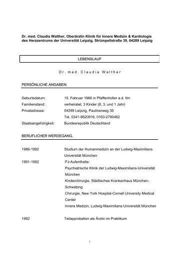 Dr. med. Claudia Walther, Oberärztin Klinik für Innere Medizin ...