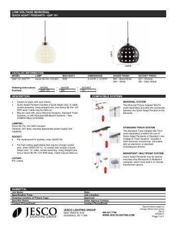 LOW VOLTAGE MONORAIL - Jesco Lighting