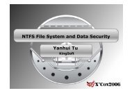 NTFS File System and Data Security Yanhui Tu - XCon