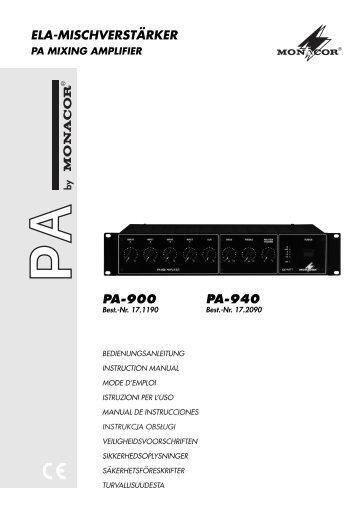 ELA-MISCHVERSTÄRKER PA-900 PA-940