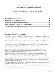 PUBLIKATIONEN VON PROF. DR. TILMAN MAYER