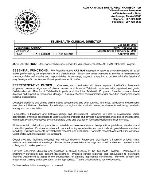 Sample Clinical Telehealth Director Job Description pdf