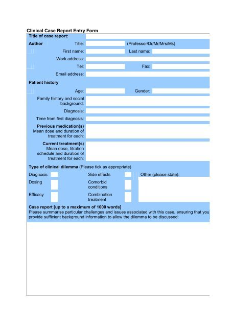 Clinical Case Report Entry Form (English - pdf)