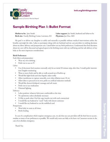 The Finley Hospital Family Birthing Suites Birth Plan Name Due