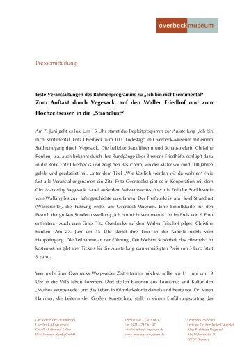 Pressemitteilung Zum Auftakt durch Vegesack, auf den Waller ...