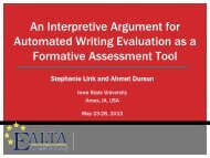 An Interpretive Argument for Automated Writing Evaluation as ... - ealta