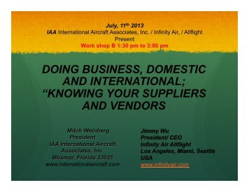 Doing Business, Domestic & International - Aviation Suppliers ...