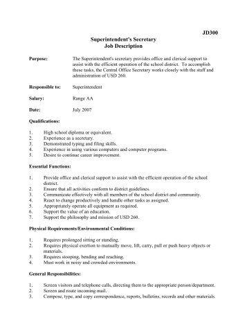 JD300 Superintendentu0027s Secretary Job Description   Derby Public .