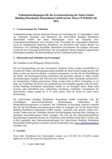 Teilnahmebedingungen für die Gewinnauslosung der ... - Solarkauf
