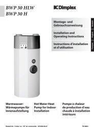 Wärmepumpe für Innenaufstellung BWP 30 HLW BWP 30 H ... - Receg