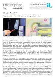 Diagnose Brustkrebs - Evangelische Kliniken Gelsenkirchen GmbH