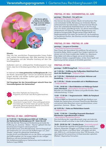 Veranstaltungsprogramm I Gartenschau Rechberghausen 09