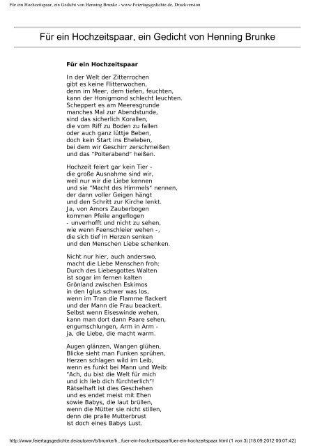 Fã¼r Ein Hochzeitspaar Ein Gedicht Von Henning